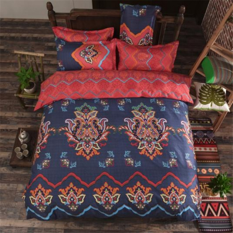 Home Textile Bedding Sets Unikea Vintage National Reversible Bedding Set 3 Or 4 Pcs Polyester Cotton Duvet Cover Flat Sheet Pillow Case Magenta & Deep Blu