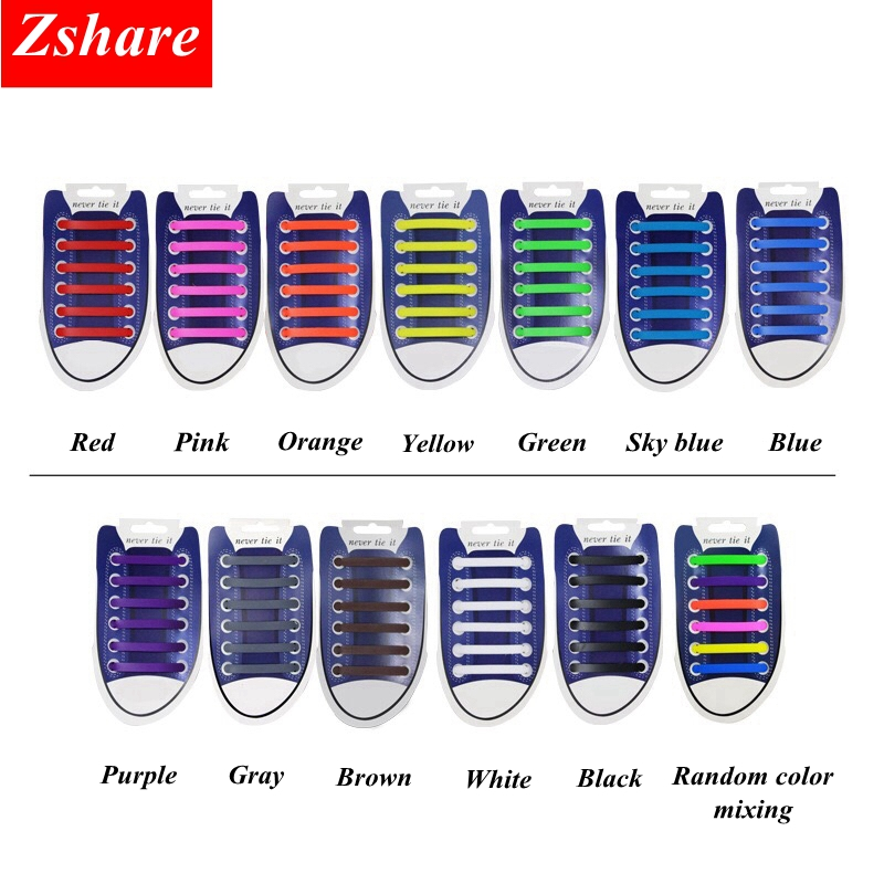 12Pc/Set Elastic Silicone Shoelaces No Tie Shoe Laces Kids Adult Quick Shoelace For Men Women Lacing Rubber Zapatillas 13 Colors