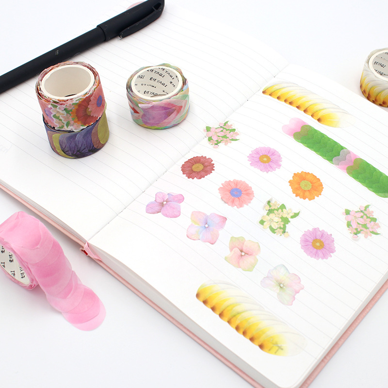 200Pcs/Roll Cute Flower Petals Washi Tape Decorative Masking Tape Fragrance Sakura Tape For Scrapbooking Diary Paper Sticker DIY 4pcs lot the renaissance of literature and art series diary album diy ornament decorative paper tape masking tape washi tape