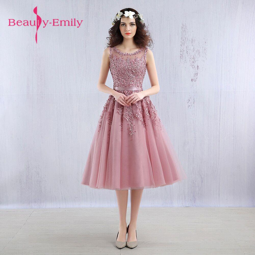 2018 Short   Bridesmaid     Dresses   Embroidery Beaded Lace Wedding Bridal Prom   Dress   Party   Dresses   Robe De Soiree Lovely   Dress