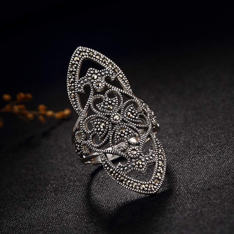 Thailand Thai Silver Marcasite Ring Hot Sale 100% Real 925 Silver Vintage Ring for Women Rings 2018 hot sale real one l