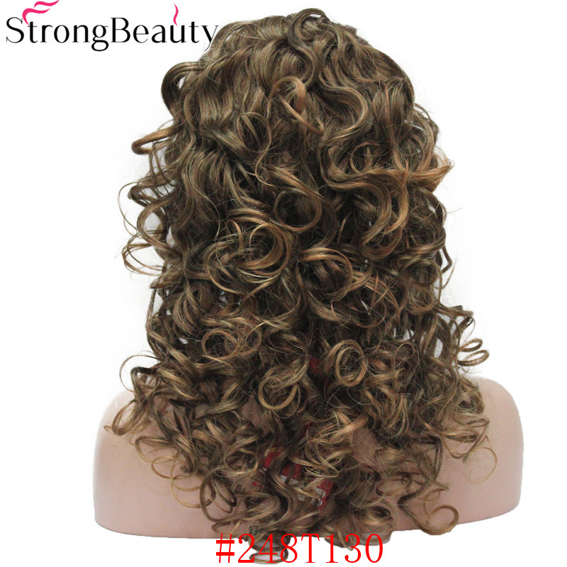 5985 #248T130 new 34 wig with headband Black Brown Copper mix curly women`s 20 synthetic wig (6)