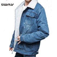 Plus Size M 3XL Winter Woolen Liner Man Jeans Denim Jacket Turn Down Collor Single Breasted