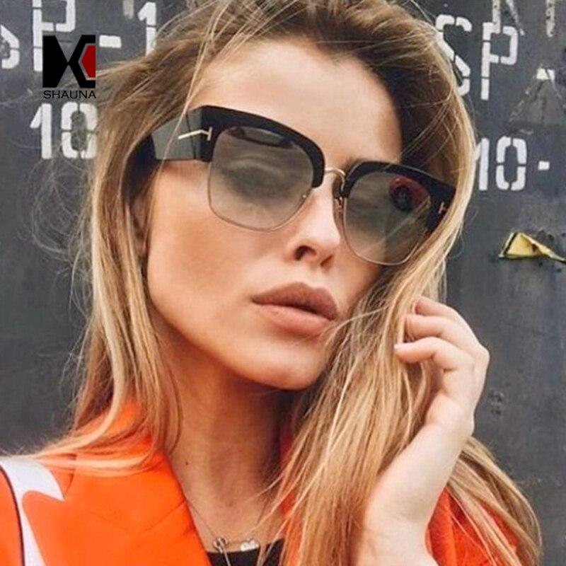 37cc320c481f6 SHAUNA Fashion Half Frame Women Cat Eye Sunglasses Brand Designer Vintage  Ladies Gradient Lens Glasses UV400-in Sunglasses from Apparel Accessories  on ...
