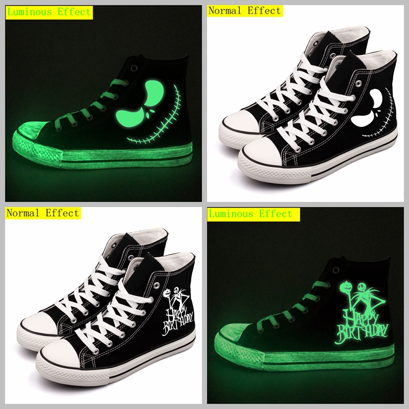 High Top Luminous Halloween Monster Printed Canvas Shoes Glow Effect Women Flat Walking Shoes Tenis Espadrilles Drop Shipping e lov women casual walking shoes graffiti aries horoscope canvas shoe low top flat oxford shoes for couples lovers