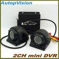 Mini 10 v - 32 v CCTV 2 canais de ônibus táxi DVR detecção de movimento de segurança 2Ch áudio I / O alarme em tempo real com 2 pcs câmera