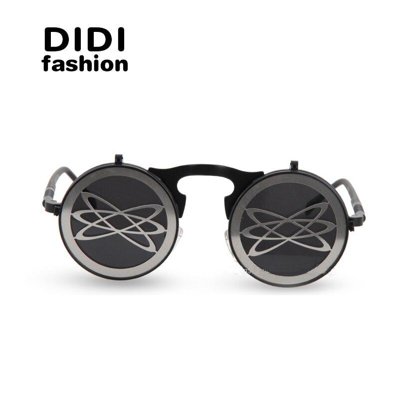 f3413426631dc7 DIDI SteamPunk Gothique Hommes lunettes de Soleil Ronde Clip Flip Up Lunettes  Hommes De Luxe Marque Lunettes Plat Miroir Lentilles des Lunettes de  Conduite ...