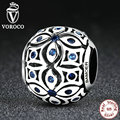 VOROCO 925 Sterling Silver Charms With Blue Crystals S925 Bead Charm fit Pandora Bracelets & Bangles for Women Jewelry C059