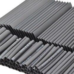 127 шт Черный Термоусадочная трубка Ассортимент обертывание Электрический изоляционный кабель трубки ассортимент полиолефинов