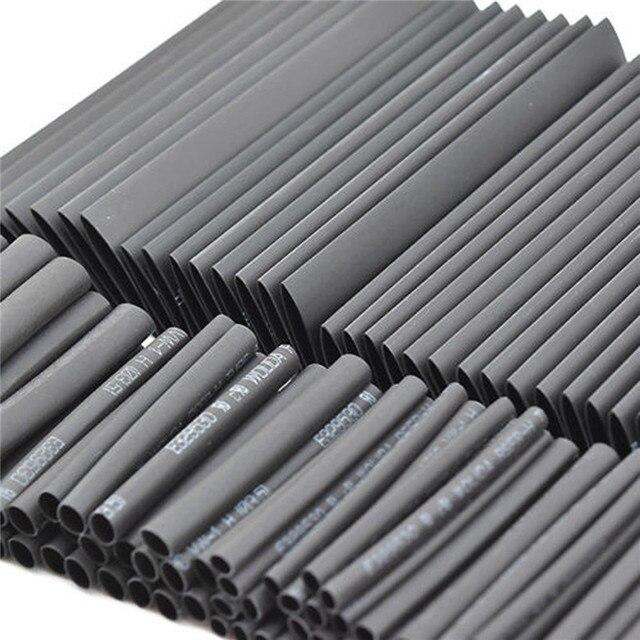 127 adet siyah isı daralan tüp çeşitler Wrap elektrik yalıtım kablo boru çeşitler poliolefin