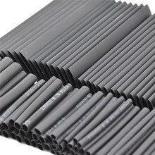 127 шт. черная термоусадочная трубка, ассортимент, обертка, Электрический изоляционный кабель, ассортимент полиолефинов