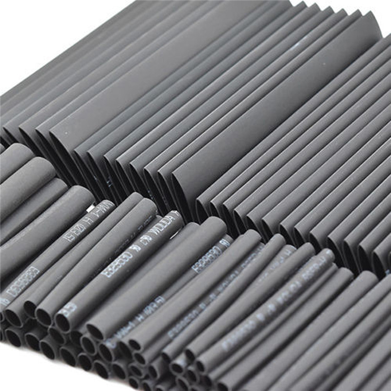 127pc Black Heat Shrink Tube Assortment Wrap Electrical Insulation Cable Tubing Assortment Polyolefin ...