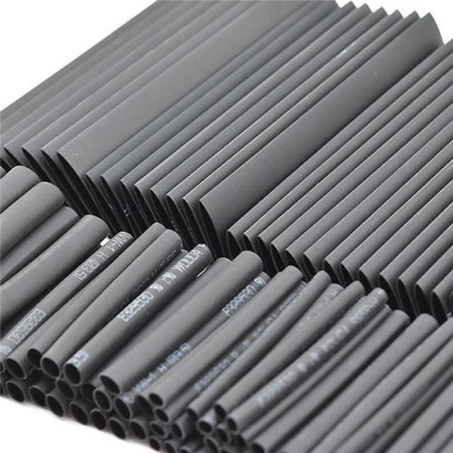 127pc 검은 열 수축 튜브 구색 랩 전기 절연 케이블 튜브 구색 폴리올레핀