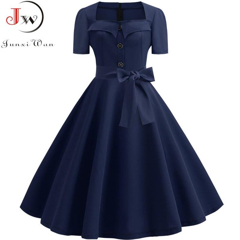 Retro Polka Dot Kleid für Frauen Sommer Quadrat Kragen Elegante Vintage Kleid 50s Pin Up Rockabilly Vestidos Robe Plus größe