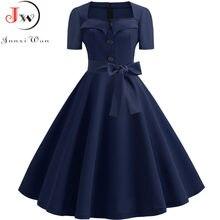 Retro Polka Dot Jurk Voor Vrouwen Zomer Vierkante Kraag Elegante Vintage Jurk 50S Pin Up Rockabilly Vestidos Robe Plus size