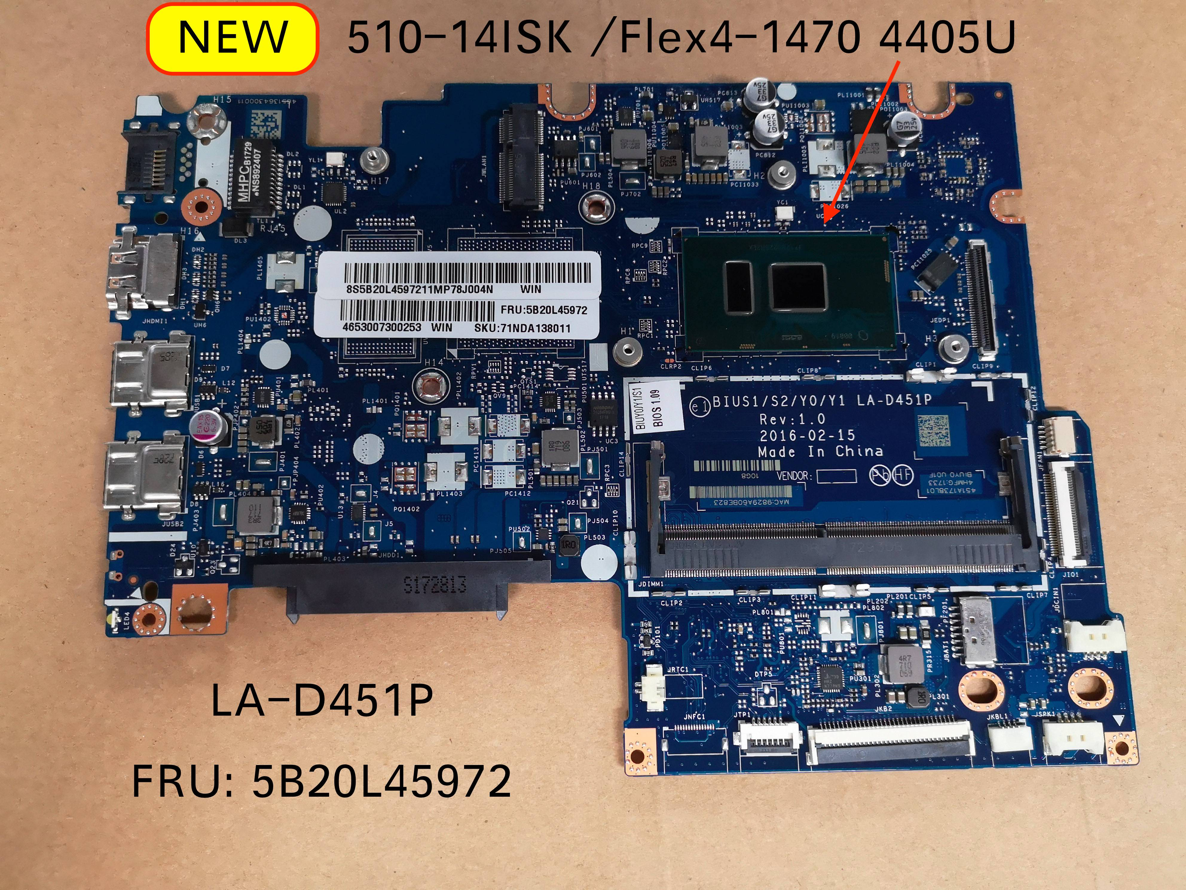Free Shipping For Lenovo Yoga 510 -14ISK BIUS1/S2/Y0/Y1 LA-D451P Laptop Motherboard 5B20L45972 4005U CPU