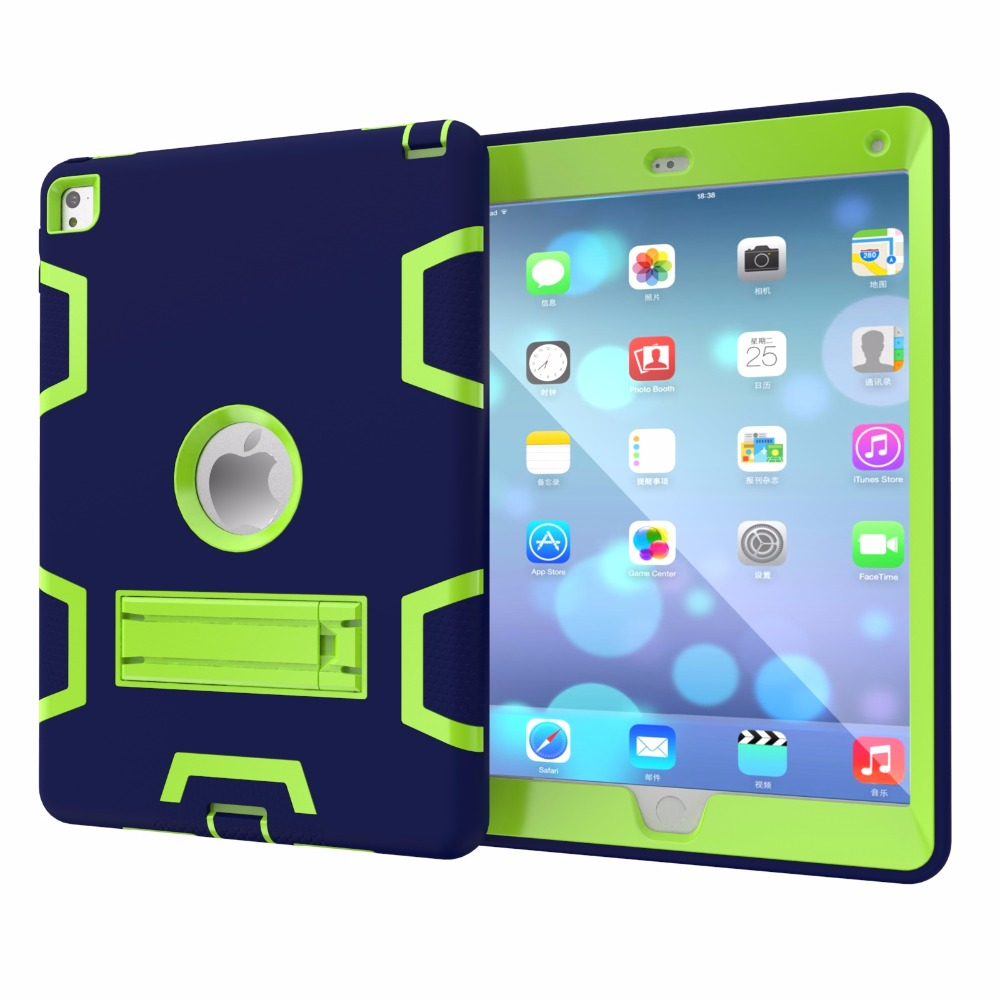 Case For Apple Ipad Air 2 Shockproof Heavy Duty Rubber Armor For Ipad 6 Rugged Hybrid Three Layer Protective Cover+Stylus Pen