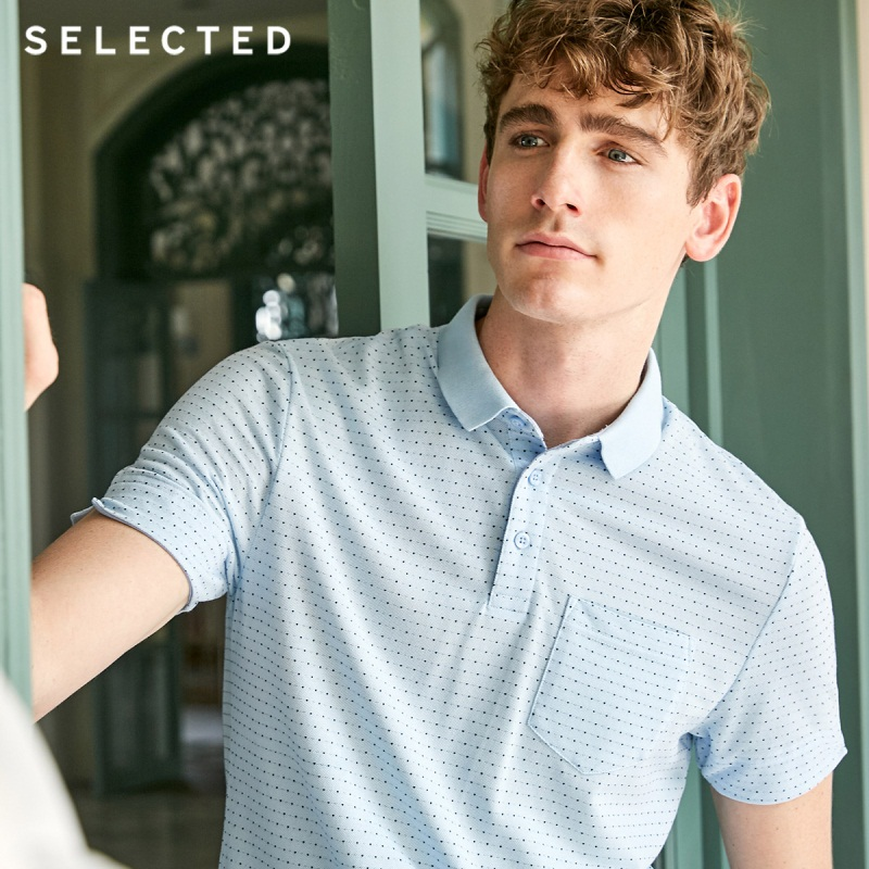 SELECTED Men's Summer Small Polka Dots Turn-down Collar Short-sleeved Poloshirt S|419206541