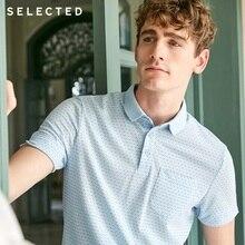 SELECTED Mens Summer Small Polka Dots Turn down Collar Short sleeved Poloshirt S