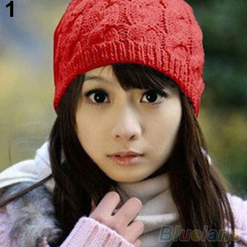 Womens Winter Knit Crochet Knitting Wool Braided Baggy Beanie Hat Cap 8OFU