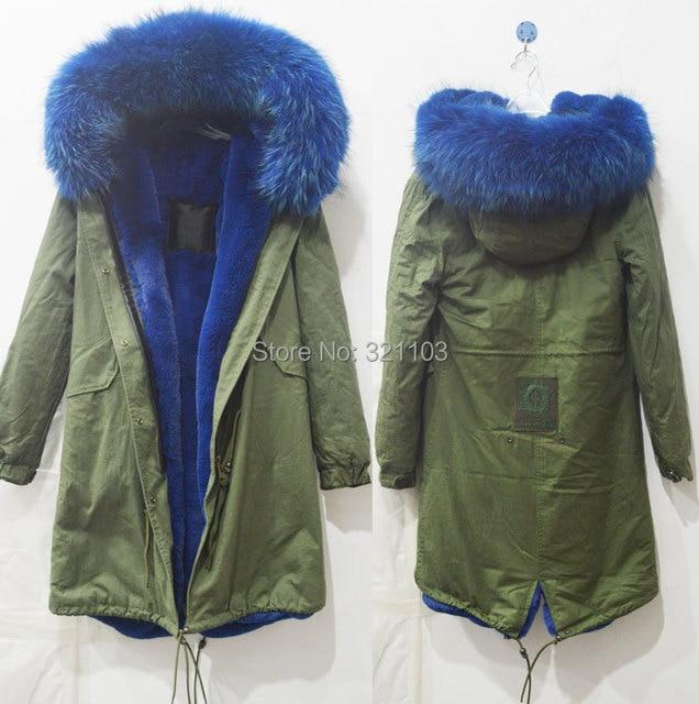 Long style winter warm coat Mrs Mr fur parka with big blue real fur collar  coats