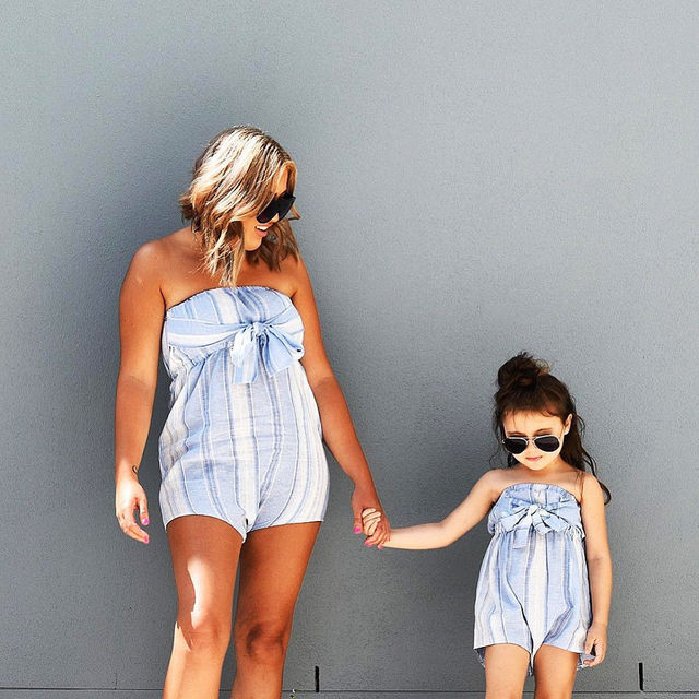 80725487d81214 2018 Mother Daughter Women Kids Girls Summer Bowknot Striped Strapless  Tunic Romper Jumpsuit Playsuit Fashion Clothes