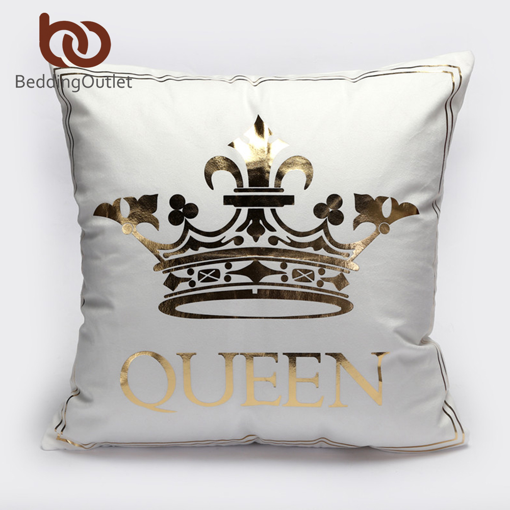 Sofa King Queen Us 4 57 48 Off Beddingoutlet Bronzing Cushion Cover Gold Printed King Queen Pillow Cover Decorative Pillow Case Sofa Seat Car Pillowcase In Cushion
