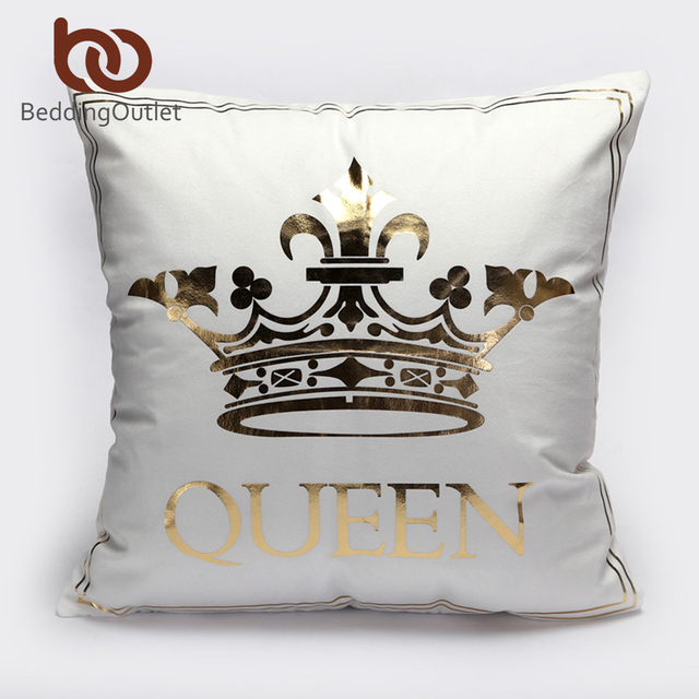 BeddingOutlet Bronzing Cushion Cover Gold Printed King Queen Pillow Enchanting King And Queen Decorative Pillows