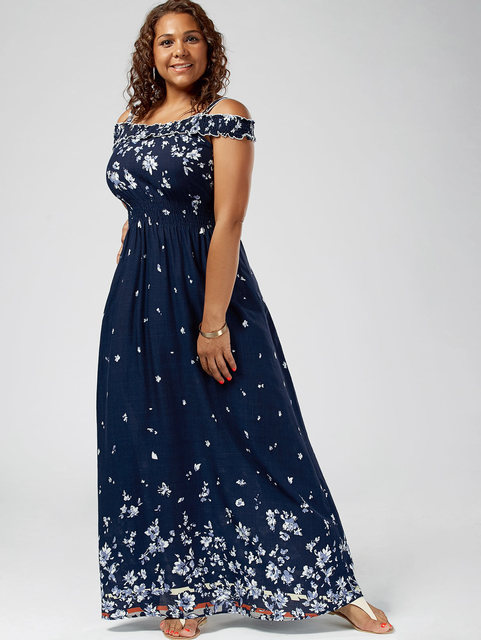 0ff06c765052c Gamiss Women Bohemian Summer Plus Size 5XL Floral Print Cold Shoulder Maxi  Dress Empire Waist Short