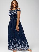 1c24f7d1db Wipalo kobiety czeski lato Plus rozmiar 5XL Floral Print zimno ramię  sukienka w dużym rozmiarze imperium