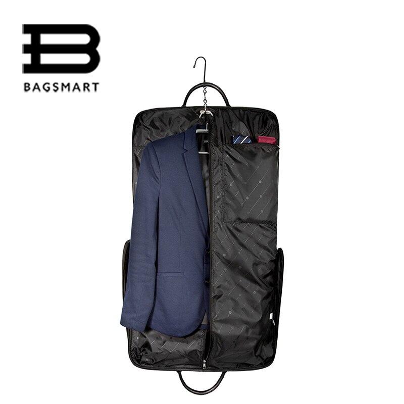 bagsmart waterproof black nylon garment bag with hanger clamp lightweight suit bag business men travel bags for suit