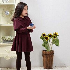 Image 2 - 가을 따뜻한 여자 자 켓 모직 두꺼운 여자 아우터 코트 솔리드 자 켓 아이들을위한 겨울 십 대 의상 6 8 12 년