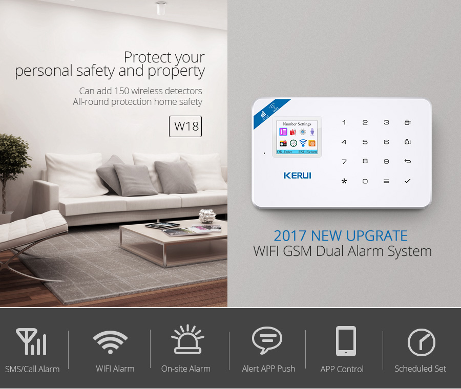 Wireless WiFi GSM Alarm System Android iPhone APP Control home Security Alarm System compatable with Anti pet PIR motion sensor_01