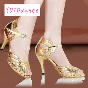 Image 4 - Gold Silver Latin Modern Dance Shoes Soft Outsole Female Square 6 7.5cm,8.5cm Thin Heel Athletic Ballroom Dancing Shoes