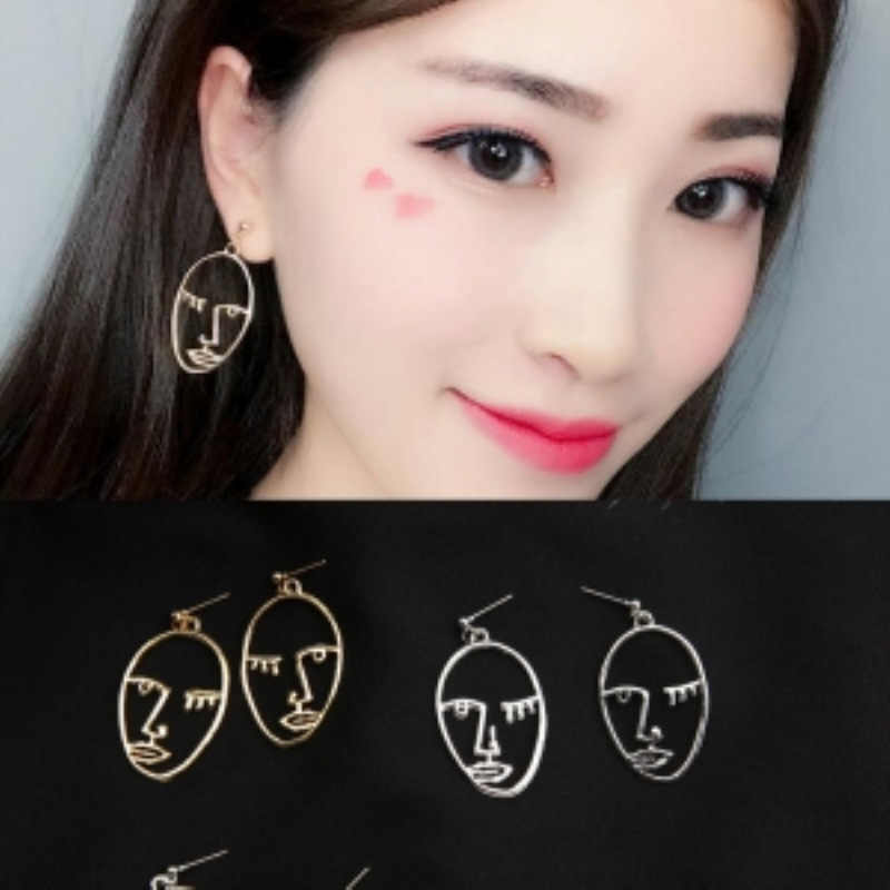 Girls Choice Earrings Retro Metal Alloy Fashion Abstract Hollow Out Dangle Earrings New earring Face 2019 New Hot