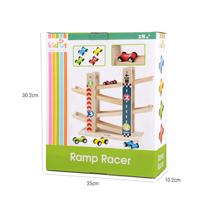 Image 3 - Kidus Ramp Race Track Wooden Racing Cars Race Cars Toy Gift with 4 cars Toys For Children Diecasts