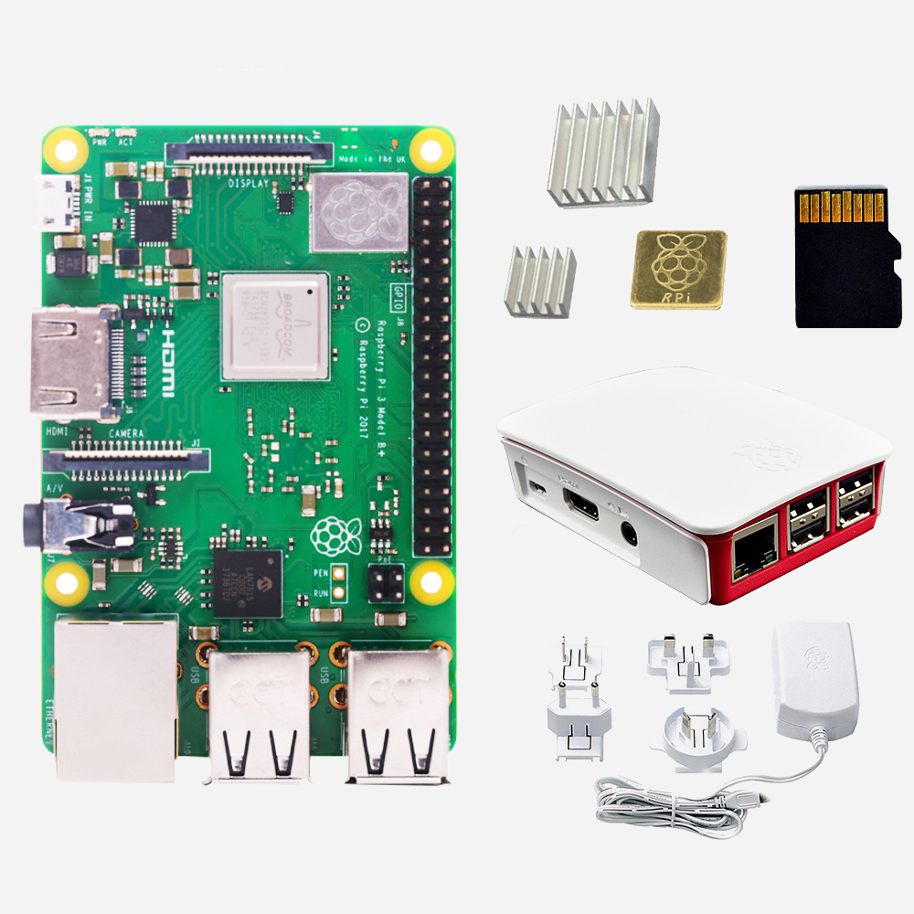 Raspberry Pi 3 B+ (B Plus) with 2.5A Power Supply , Official Case ,16GB SD Card , 3 Heatsinks