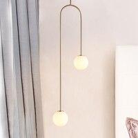 Linhas de ferro pós moderna bolhas vidro lustre iluminação nordic designer ouro sala estar quarto sala jantar decoração casa