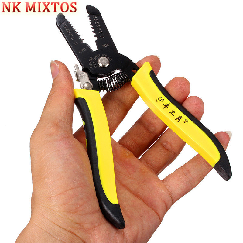 NK MIXTOS Portable Wire Stripper Pliers Crimper Cable Stripping Crimping Cutter Hand Tool with Manganese Steel for Electrical diy brand automatic cable wire stripper stripping crimper crimping plier cutter tool diagonal cutting pliers