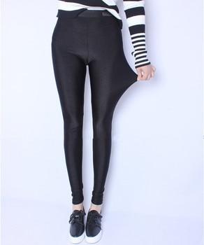 FSDKFAA 2018 Fit 150kg Fat MM Plus Size Women Autumn Black High Waist Nylon Leggings Pants High Elastic Stretch Material XL-5XL 2