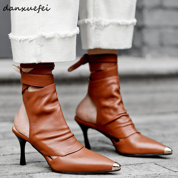 Women's genuine leather high heel spring new ankle boots pointed toe ankle tie autumn short booties high quality ladies shoes