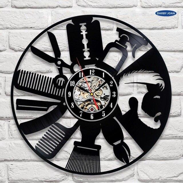 Coiffeur disque vinyle horloge murale art d cor unique d coratif montre cadeau id es pour salon - Horloge design pour salon ...