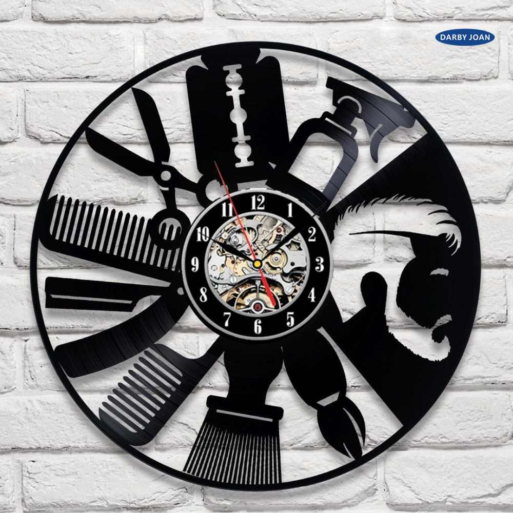 Hairdresser Disk Vinyl Wall Clock Art Decor Unique Decorative Watch Gift Ideas For Salon Hairstyling Clocks Decoration Watches Vinyl Wall Clockwall Clock Aliexpress