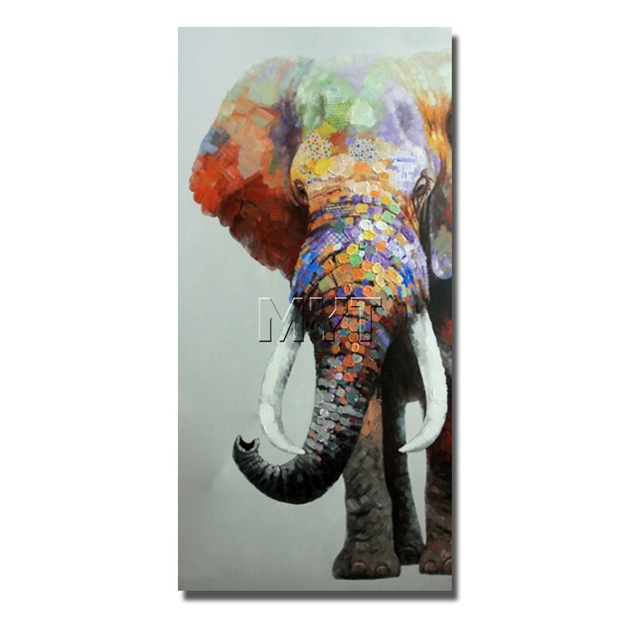 Indian Elephant Wild Animal Canvas Wall Art Modern Living Room Decor Oil Painting Free Shipping