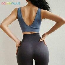 Colorvalue Mid Support Seamless Workout Fitness Bras Crop Top Women Vest Types Gym Yoga Sports Bra Back Deep-V Padded Jogger Bra цена
