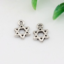 Hot ! 50pcs  Antique silver Zinc Alloy Star of David Charm Pendants DIY Jewelry 9x13mm A-023 david silver a slow train coming