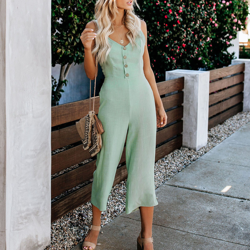 jumpsuit   women Sexy V-neck playsuit Summer Backless Sexy   Jumpsuits   Women Romper Bowknot Buttons Beach Wide Leg Pants Overalls