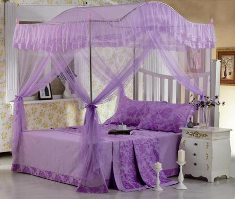 New Four Corner Mosquito Net Bed Canopy Pink Ribbon Queen