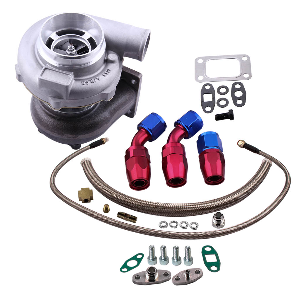 Turbo universel GT30 GT3037 GT3076 turbocompresseur d'huile 500HP + Kit de ligne d'alimentation de retour de vidange d'huile