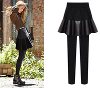 Womens Legging with Skirts New Style Velvet inside PU Warm Fit in Autumn Winter Pants for Lady 5XL Plus Size ouc3016